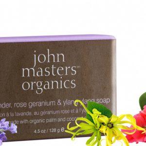 John Masters Organics Mydło z lawendą, różą geranium i ylang ylang